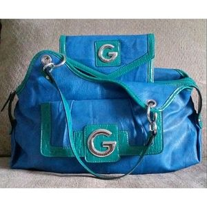 Blue & Green G By Guess Tote w/ Wallet
